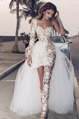 Elegante mono de encaje asimétrico sobrefalda transparente vestido de novia blanco