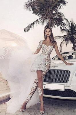 Eleganter Spitzenoverall Asymmetirc Durchsichtiger Überrock Weißes Brautkleid_4