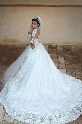 Élégante robe de mariée blanche en tulle à manches longues en tulle_2