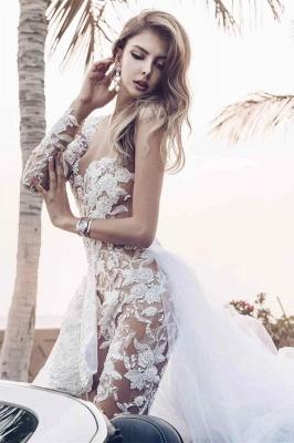 Eleganter Spitzenoverall Asymmetirc Durchsichtiger Überrock Weißes Brautkleid_5