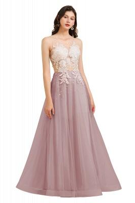 Apliques de encaje de cuello redondo simple Vestido de noche rosado de una línea_2