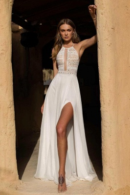 Vestido de novia simple de verano bohemio de gasa con abertura alta en blanco y halter_5