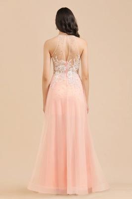 Apliques de encaje de cuello redondo simple Vestido de noche rosado de una línea_8