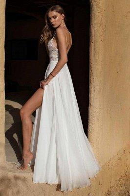Vestido de novia simple de verano bohemio de gasa con abertura alta en blanco y halter_2