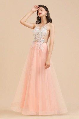Simple Round neck Lace appliques Pink A-line evening dress_10