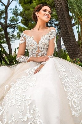 Elegant Illusion neck Long sleeves lace appliques ivory wedding dress