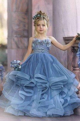 Lindos sin tirantes polvorientos azules volantes hinchados princesa vestidos de niña de las flores