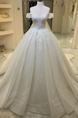 luxurious Off Shoulder  Appliques A-line Ball Gowns Princess Bridal Gowns