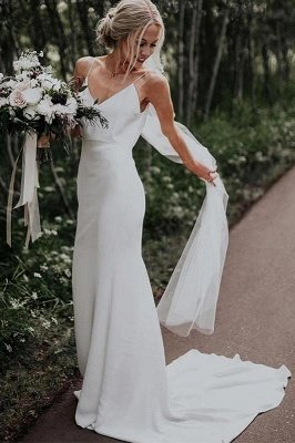 Sommer White Boho Column Beach Court Zug Hochzeitskleid_1