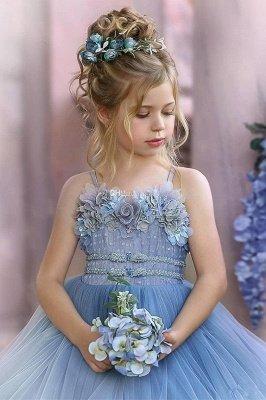 Robes de demoiselle d'honneur princesse sans bretelles mignonnes volants bleu poussiéreux_6