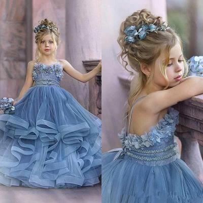 Robes de demoiselle d'honneur princesse sans bretelles mignonnes volants bleu poussiéreux_5