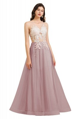 Simple Round neck Lace appliques Pink A-line evening dress_2