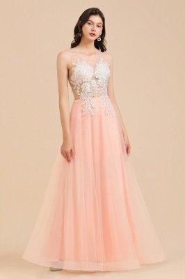 Simple Round neck Lace appliques Pink A-line evening dress_7