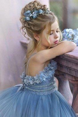 Robes de demoiselle d'honneur princesse sans bretelles mignonnes volants bleu poussiéreux_3