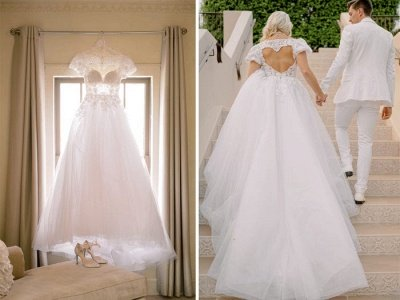 Elegant V-Neck Short Sleeve A-line Wedding Dress White Appliques_4