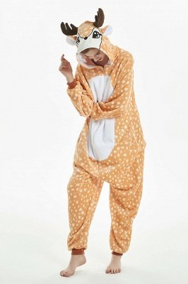 Fashion Elk Sleepwear Nightie Splicing Flannel Nightgown Women Wapiti Onesies Winter Kigurumi