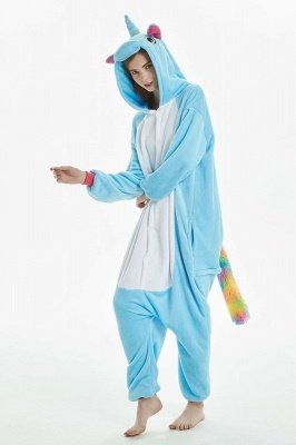 Cheep Blue And White Women Winter Warm Pegasus Home Wearing Clothes Rainbow Tail Adult Color Kigurumi Flannel Nightie Sleepwear