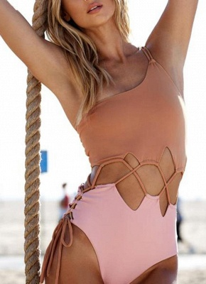 Women Single Shoulder One Piece Solid Color Swimsuit_1