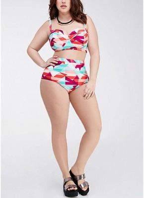 Plus Size Geometric High Waist Bikini Set_6