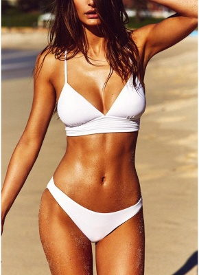 Sexy Women Strappy Bikini Set Deep V-Neck Tie Back Low Waist Swimwear Swimsuit Beach Bathing Suit White_1