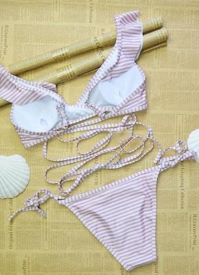Sexy Women Swimwear Ruffles Bandage Bikini Set Swimsuit_3