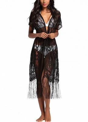 Women Swimsuit Lace Cover Up Tassel Bandage Holiday Beach Wear Swimwear Overall_1
