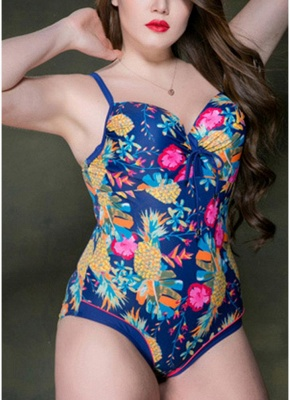 2xl Plus Size Print Spaghetti Strap Hollow Out Backless One Piece Swimsuit_4