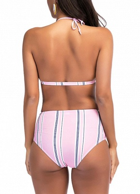 Women Stripe High Waist Bikini Set Halter Padded Bandage Swimsuit Swimwear Bathing Suit_3