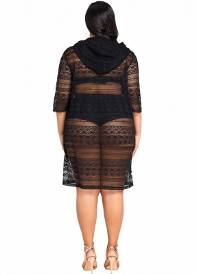 Women Plus Size See-through Cover Ups Floral Lace Hooded Half Sleeves Long Casual Tops Beachwear_5