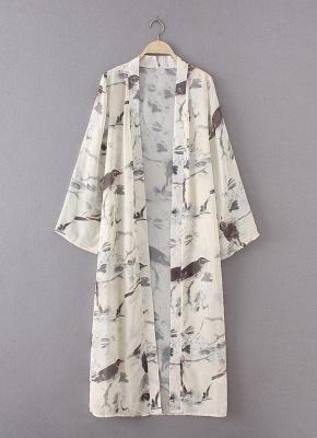 Kimono mince à imprimé floral ouvert devant pour femmes_5