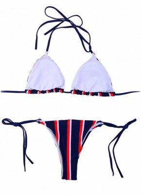 Halter Push Up Striped Tie Waist Padded Women Bikini Set_5