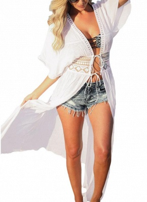 Women Beach Cover Up Lace Bandage Maxi Cardigan Tunic Bikini Swimsuit_1