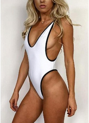 Frauen Einteiliger Badeanzug Solide High Cut Thong Monokini Badebekleidung Badeanzug_1
