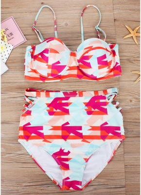 Plus Size Geometric High Waist Bikini Set_5
