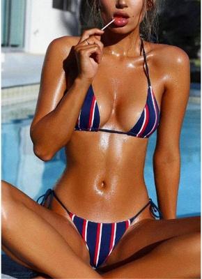Halter Push Up Striped Tie Waist Padded Women Bikini Set_2