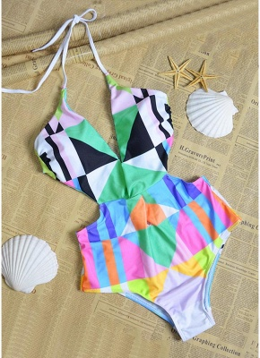 Sexy Women Halter One Piece Swimsuit Geometric Print Deep V-Neck Backless Cutout Bikini Swimwear Swimsuit_3