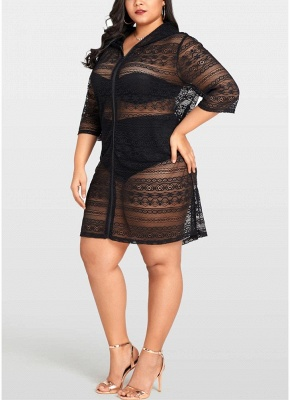 Women Plus Size See-through Cover Ups Floral Lace Hooded Half Sleeves Long Casual Tops Beachwear_3