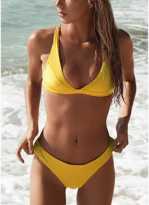 Women Bikini Set Solid Triangle Cups Solid Leopard Padded Push Up Low Waist Sexy Two Piece Swimsuit_3