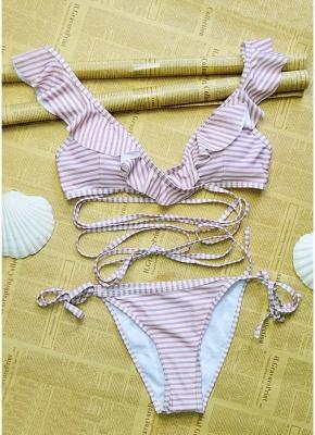 Sexy Women Swimwear Ruffles Bandage Bikini Set Swimsuit_4