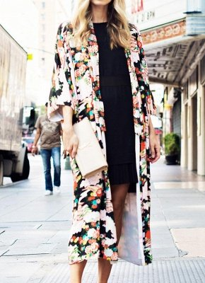 Summer Chiffon Cardigan Bikini Cover Up Printed Boho Long Women's Kimono