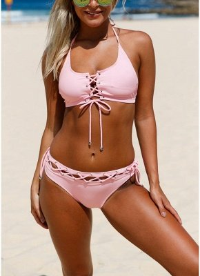 Women Lace Up Halter Bikini Set Padded Bralette Swimwear Biquini Bathing Suits