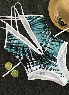 Leaves Print Plunge V Neck Crisscross Strappy One-piece Swimsuit_7