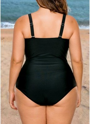Women Plus Size One Piece Swimsuit Color Block Underwire Padded Push Up_3