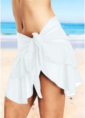 Sheer Mesh Ruffles Solid Color Bikini Skirt_1