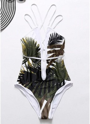 Leaves Print Plunge V Neck Crisscross Strappy One-piece Swimsuit_4