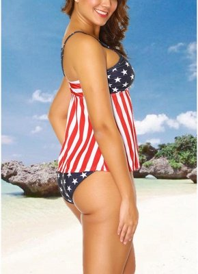 Plus Size Stars Stripes Print Hollow Out Front Bikini Set_3