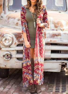 Boho Floral Print Open Front Three Quarter Sleeve Loose Long Kimono