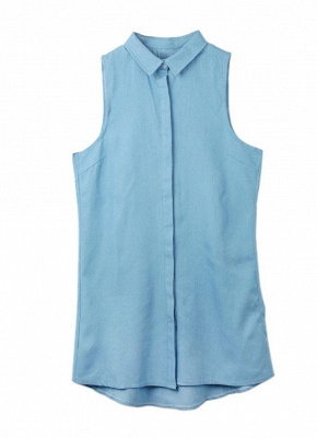 Summer ChicTurn-Down Collar Sleeveless Button Mini Shirt Denim Dress_1