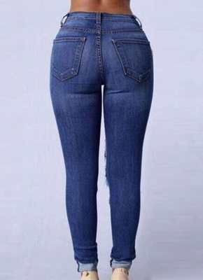 Zerrissene Jeans Hohe Taille Löcher Funktionelle Taschen Destroyed Skinny Jeans_4