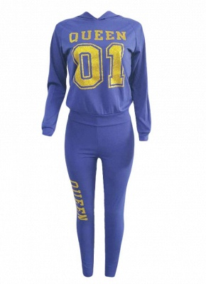 Women Tracksuit Set Letter Print Hoodie & Pants Sweat Suits Casual Two Piece_5